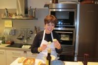 Michelle pileing egg high on bread