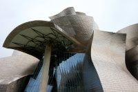 Interesting angle of the building, composed of abstract ship and fish forms.